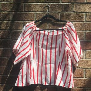 Red and white vertical stripe top